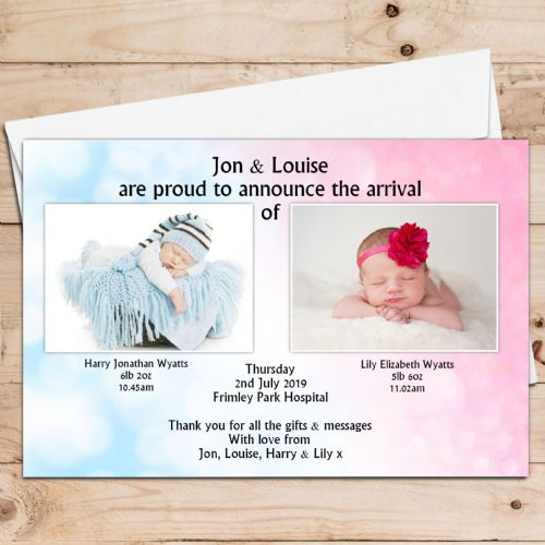 10 Personalised Boys Girls Twins / Joint Birth Announcement Thank You PHOTO Cards N14